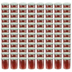 stradeXL Szklane słoiki na dżem, biało-zielone pokrywki, 96 szt., 400 ml