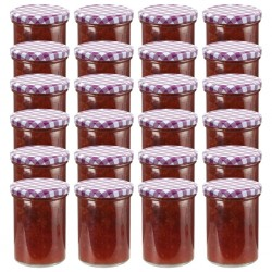stradeXL Szklane słoiki, biało-fioletowe pokrywki, 24 szt., 400 ml