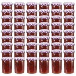 stradeXL Glass Jam Jars with White and Purple Lid 48 pcs 400 ml