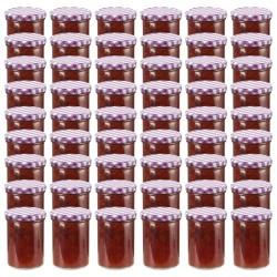 stradeXL Szklane słoiki, biało-fioletowe pokrywki, 48 szt., 400 ml