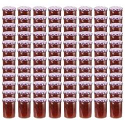 stradeXL Szklane słoiki, biało-fioletowe pokrywki, 96 szt., 400 ml