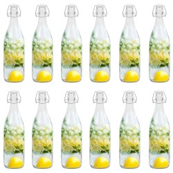 stradeXL Glass Bottle with Clip Closure 12 pcs 1 L
