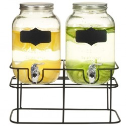 stradeXL Beverage Dispensers 2 pcs with Stand 2 x 4 L Glass
