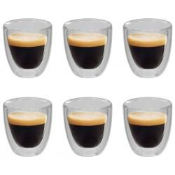 stradeXL Dwuścienne filiżanki termiczne na espresso, 6 szt., 80 ml