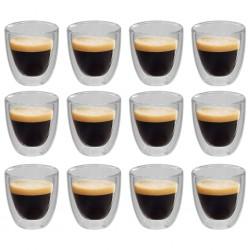 stradeXL Dwuścienne filiżanki termiczne na espresso, 12 szt., 80 ml