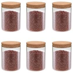 stradeXL Szklane słoje z korkową pokrywką, 6 szt., 650 ml