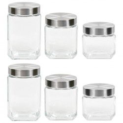 stradeXL Storage Jars with Sliver Lid 6 pcs 800/1200/1700 ml