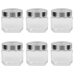 stradeXL Storage Jars with Silver Lid 6 pcs 800 ml