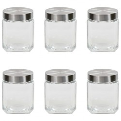 stradeXL Storage Jars with Silver Lid 6 pcs 1200 ml