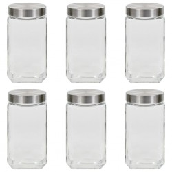 stradeXL Storage Jars with Silver Lid 6 pcs 2100 ml