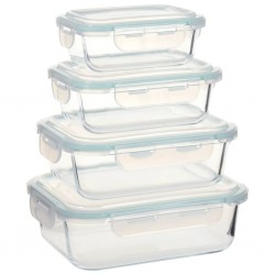 stradeXL Glass Food Storage Containers 4 Pieces