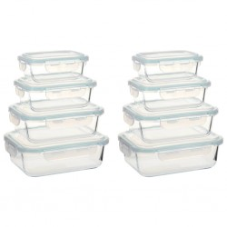 stradeXL Glass Food Storage Containers 8 Pieces