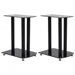 stradeXL Aluminum Speaker Stands 2 pcs Black Safety Glass