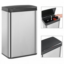 stradeXL Automatic Sensor Dustbin Silver and Black Stainless Steel 60 L