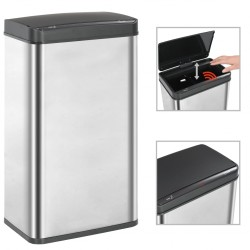 stradeXL Automatic Sensor Dustbin Silver and Black Stainless Steel 70 L