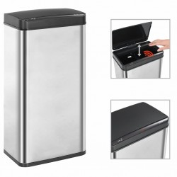 stradeXL Automatic Sensor Dustbin Silver and Black Stainless Steel 80 L