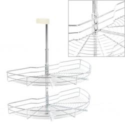 stradeXL 2-poziomowy kosz do kuchni, srebrny, 180 stopni, 75x38x80 cm
