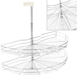 stradeXL 2-Tier Kitchen Wire Basket Silver 180 Degree 85x44x80 cm