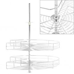 stradeXL 2-poziomowy kosz do kuchni, srebrny, 270 stopni, 71x71x80 cm