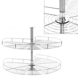 stradeXL 2-poziomowy kosz do kuchni, srebrny, 270 stopni, 82x82x80 cm