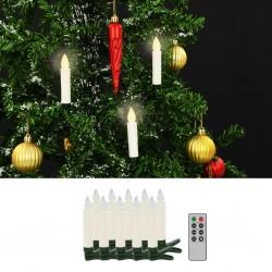 stradeXL Świece LED, bezprzewodowe, z pilotem, 10 szt., ciepła biel