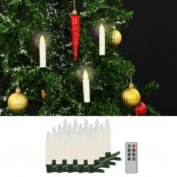 stradeXL Świece LED, bezprzewodowe, z pilotem, 20 szt., ciepła biel