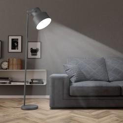 stradeXL Lampa podłogowa, metalowa, szara, E27