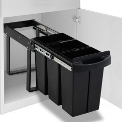 stradeXL Kitchen Cupboard Pull-out Recycled Dustbin Soft-Close 36 L