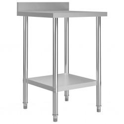 stradeXL Kuchenny stół roboczy z listwą, 60x60x93 cm, stal nierdzewna