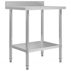 stradeXL Kuchenny stół roboczy z rantem, 80x60x93 cm, stal nierdzewna