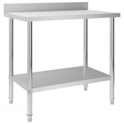 stradeXL Kitchen Work Table with Backsplash 100x60x93 cm Stainless Steel