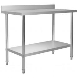 stradeXL Kitchen Work Table with Backsplash 120x60x93 cm Stainless Steel