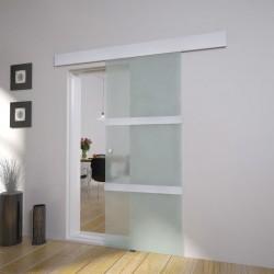 stradeXL Drzwi przesuwne, szkło i aluminium, 178 cm, srebrne