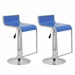 Krzesła barowe, niebieskie, z niskim oparciem, plastik