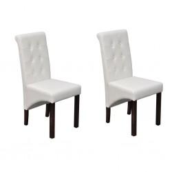 stradeXL Krzesła stołowe, 2 szt., białe, sztuczna skóra