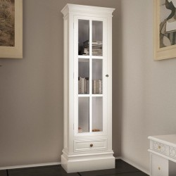 stradeXL Witryna drewniana z 3 półkami, biała