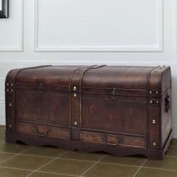 stradeXL Drewniany kufer, duży, brązowy