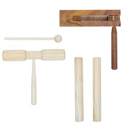 stradeXL 3 Piece Percussion Set Wood