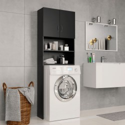 stradeXL Washing Machine Cabinet Black 64x25.5x190 cm Chipboard