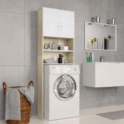 stradeXL Washing Machine Cabinet White and Sonoma Oak 64x25.5x190 cm