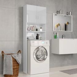 stradeXL Washing Machine Cabinet High Gloss White 64x25.5x190 cm Chipboard