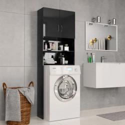 stradeXL Washing Machine Cabinet High Gloss Black 64x25.5x190 cm Chipboard