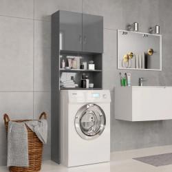 stradeXL Washing Machine Cabinet High Gloss Grey 64x25.5x190 cm Chipboard