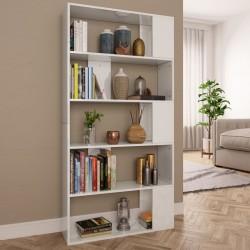 stradeXL Regał na książki/przegroda, wysoki połysk, biały, 80x24x159 cm