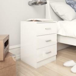 stradeXL Szafka nocna, wysoki połysk, biała, 38x35x56 cm, płyta wiórowa