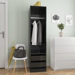 stradeXL Szafa z szufladami, wysoki połysk, czarna, 50x50x200 cm