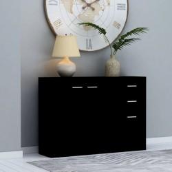 stradeXL Komoda, czarna, 105 x 30 x 75 cm, płyta wiórowa
