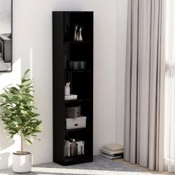stradeXL 5-poziomowy regał na książki, wysoki połysk, czerń, 40x24x175cm