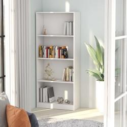 stradeXL 4-poziomowy regał na książki, biały, 60x24x142 cm