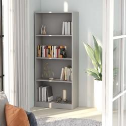 stradeXL 4-poziomowy regał na książki, szary, 60x24x142 cm